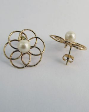 14K Pearl Earrings side