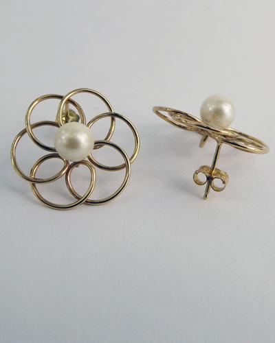 14K Pearl Earrings side