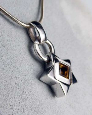 14K White Gold Citrine Pendant 880-4228 side