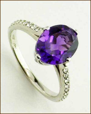 14k Amethyst & Diamond Ring 200-1887