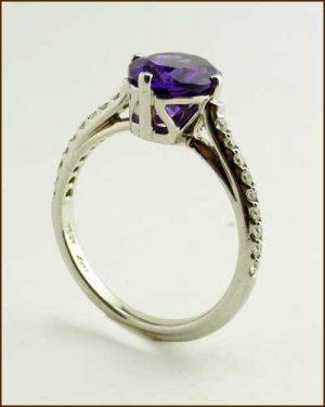 14k Amethyst & Diamond Ring 200-1887 side
