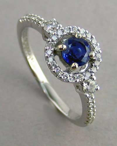 14k Blue Sapphire & Diamond Ring 200-2238