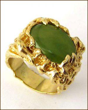 14k Men's Green Jade Ring 880-3997