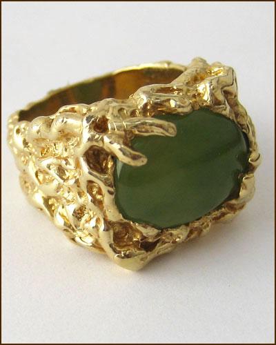 14k Men's Green Jade Ring 880-3997 side