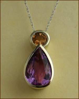 14k Pink Precious Topaz Necklace 230-1288
