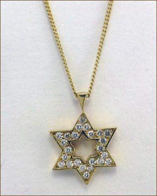 18K and Diamond Star of David