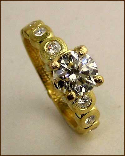 18k Gold Candy Diamond Ring 886-7305 side