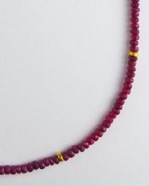 18k Gold Faceted Ruby Necklace B1618 detail
