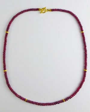 18k Gold Faceted Ruby Necklace B1618
