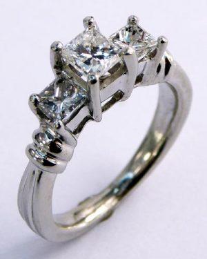 1 ct. 3-Stone Princess Cut Diamond Ring 880-3808