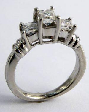 1 ct. 3-Stone Princess Cut Diamond Ring 880-3808 side