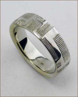Brian Sholdt 18k Patterned Ring Standing Up