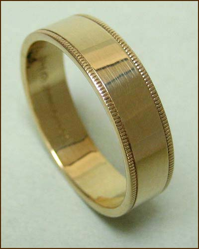 14k Gold Men's Band with Milgrain Edges Standing Up