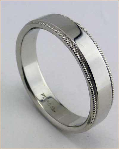 Platinum Men's Band with Milgrain Edge Standing Up