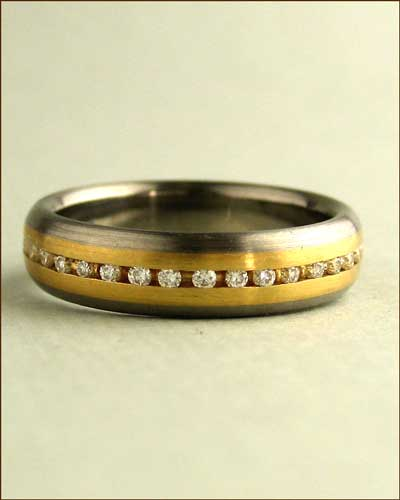 Jerry Spaulding Titanium, 18k Gold and Diamond Band