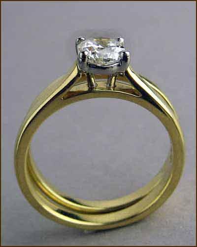 .70 ct Octagon Diamond Ring Set side