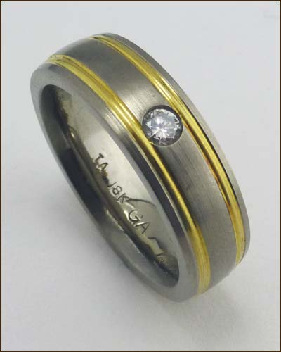 Titanium and 18k Gold Men's Band Standing up