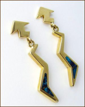 Yellow Gold and Turquoise Earrings
