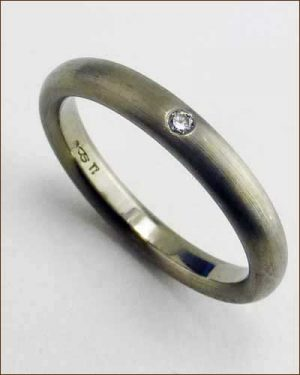 Jerry Spaulding Titanium and Diamond Ring Standing Up