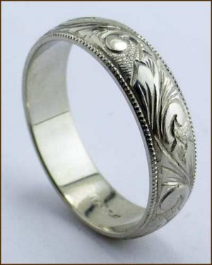 Kiwi Gold Hand Engraved Platinum Men's Band Standing up