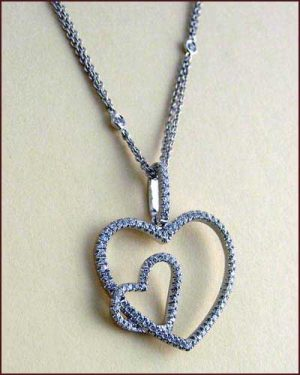 Tycoon 18k Double Heart Necklace large