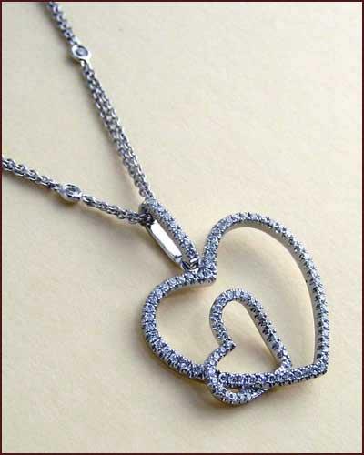 Tycoon 18k Double Heart Necklace side