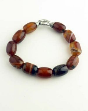 Carnelian Barrel Bracelet 7in 886-6348