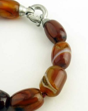Carnelian Barrel Bracelet 7in 886-6348 detail