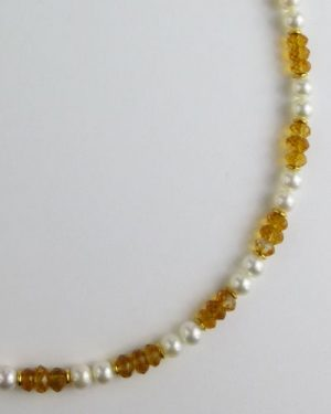 Citrine and Pearl Necklace B1801 detail