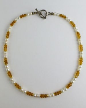 Citrine and Pearl Necklace B1801