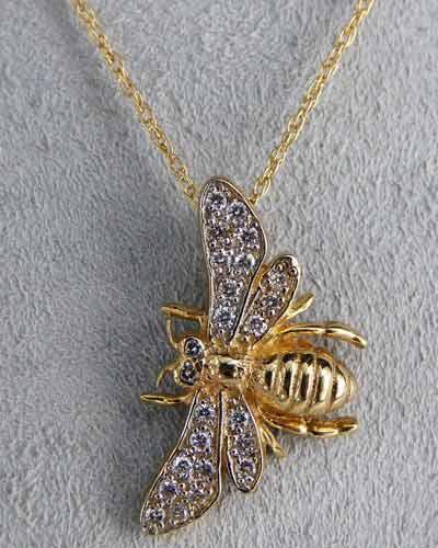 Diamond Bee Pendant