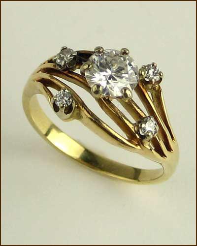Estate 5 Diamond Unique Ring 880-4327