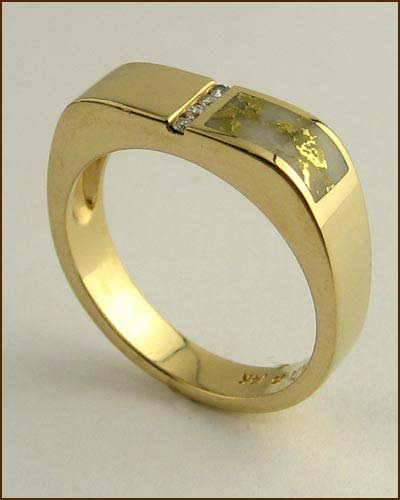 Kabana 14k Gold in Quartz Mens Ring 200-1842