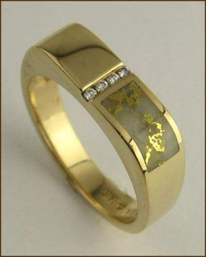 Kabana 14k Gold in Quartz Mens Ring 200-1842 side