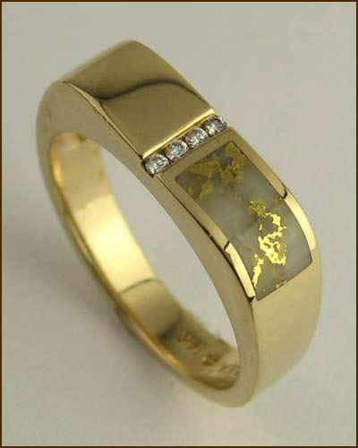 Kabana 14k Gold in Quartz Mens Ring 200-1842 side
