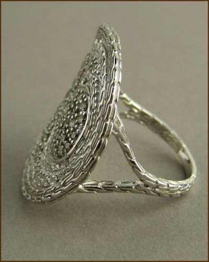 Langit Pave Diamond Coin Ring 884-2699 side