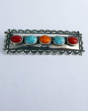 Navajo SS Turquoise and Coral Pin