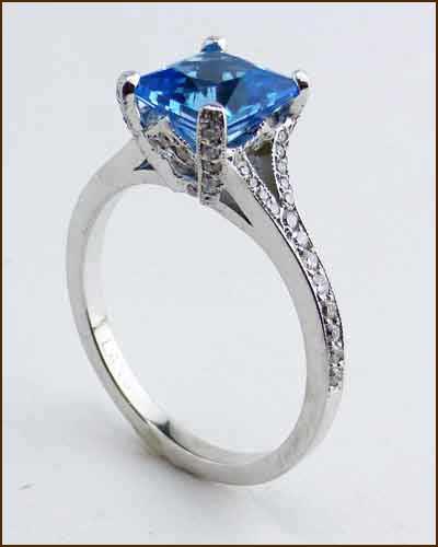 Platinum Diamond Blue Topaz Ring 480-297