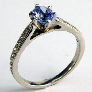 Platinum Sapphire Diamond Ring 880-3947 side