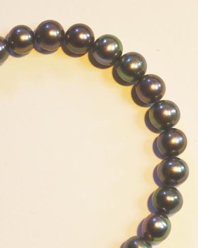 Silver Black Pearl Bracelet B1603 detail