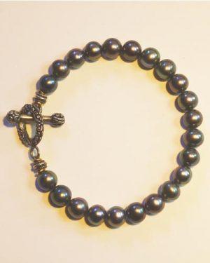 Silver Black Pearl Bracelet B1603