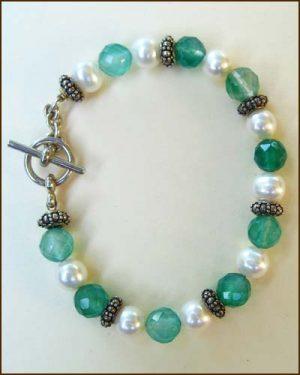 Silver Green Quartz Pearl Bracelet large