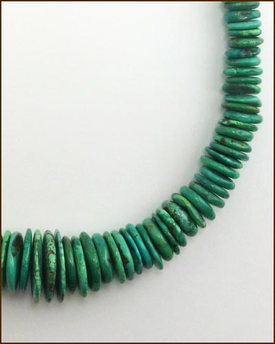 Silver Heavy Turquoise Necklace 886-7288 detail