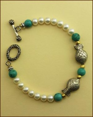 Silver Pearl Turquoise Fish Bracelet 886-7314