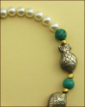 Silver Pearl Turquoise Fish Bracelet 886-7314 detail
