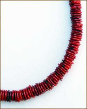 Silver Red Coral Necklace 886-7307 detail