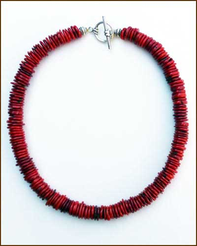 Silver Red Coral Necklace 886-7307