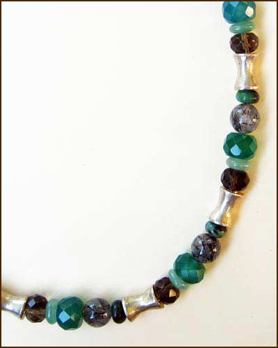 Silver and Gemstone Necklace 886-6731 detail