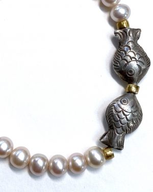 Silver Pearl Fish Bracelet B2001det