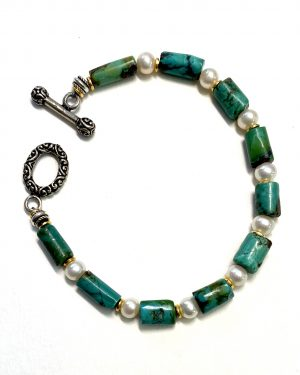 Silver Turquoise and Pearl Bracelet B2002